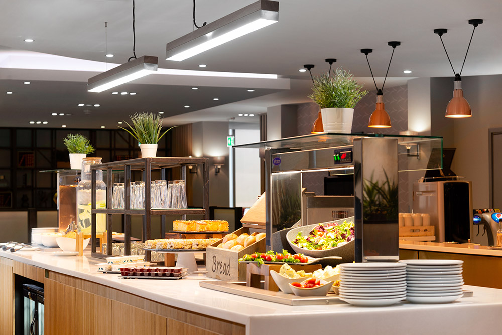 A freshly stocked snack bar in Gatwick Airport's Club Aspire Lounge
