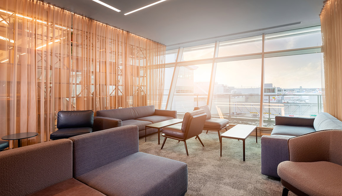 A bright and spacious seating area in Gatwick Airport's Club Aspire