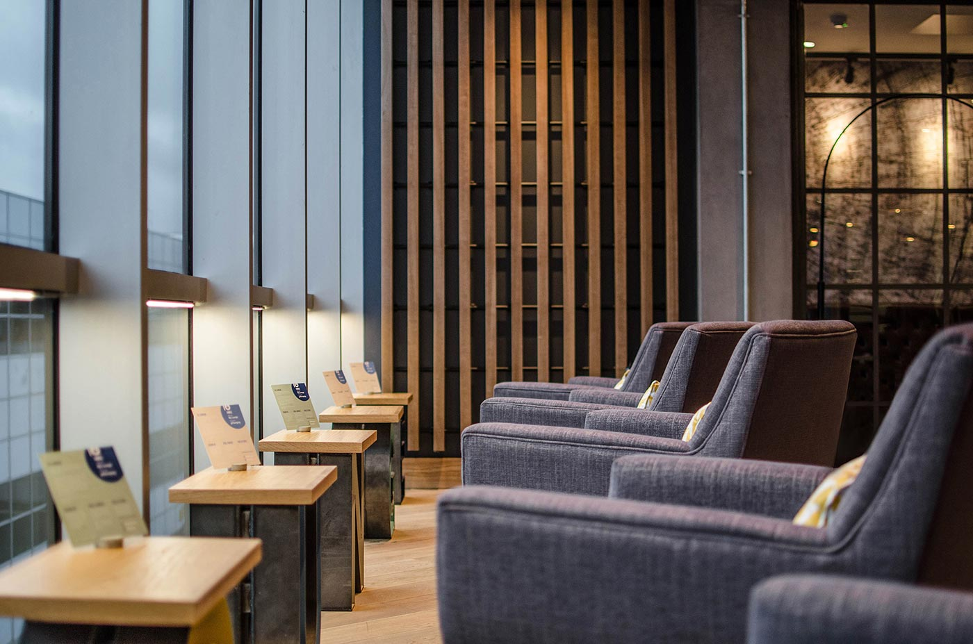 A relaxed seating area in Gatwick Airport's My Lounge